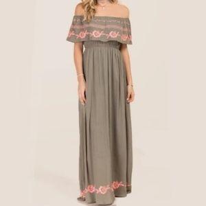 Miami Floral Embroidered Boho Maxi Dress